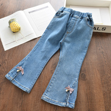 Girls Jeans New Spring Solid Pants Kids Summer Trousers Jeans Cute Children Bow-knot Pants Jeans Girl Clothing Outfits 3 8Y girls denim pants high quality spring kid clothing autumn girl trousers fall children jeans pants leggings heart pattern jeans