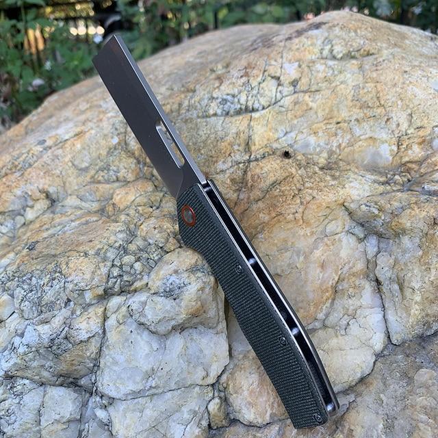 TUNAFIRE D2 steel tactical folding knife High-end linen handle ball bearing camping self-defense pocket hunting peeling tools 5