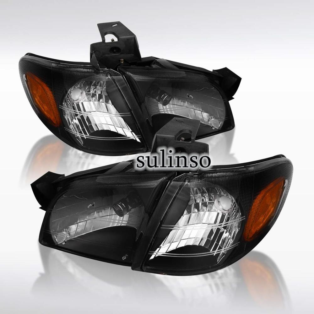 Sulinso Fit For Chevy-Venture-Montana Trans Black Headlights Amber Corner Signal Lamps
