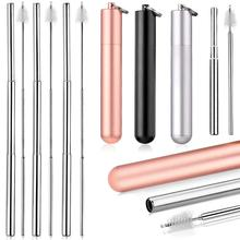 Metal Straw Collapsible Portable Folding Reusable Drinking Foldable Stainless Steel Cocktail-Tubes Straws Bar Accessories