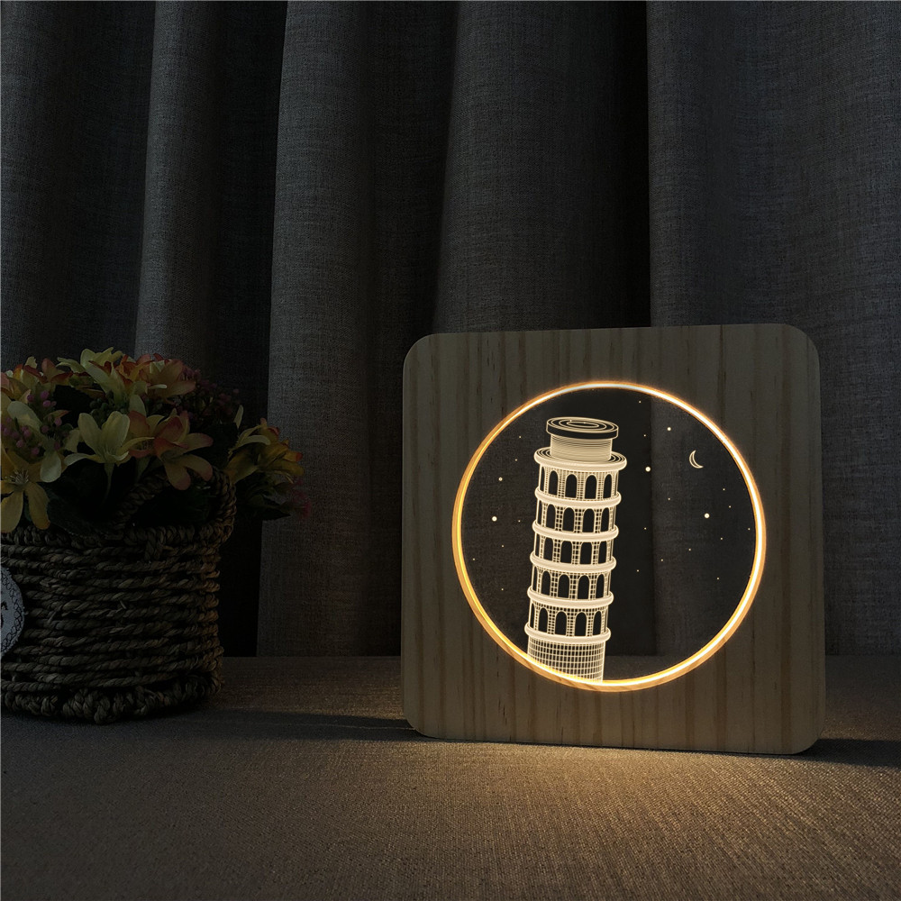 Leaning Tower of Pisa 3D LED Arylic Wooden Night Lamp Table Light Switch Control Carving Lamp for Children's Room Decorate