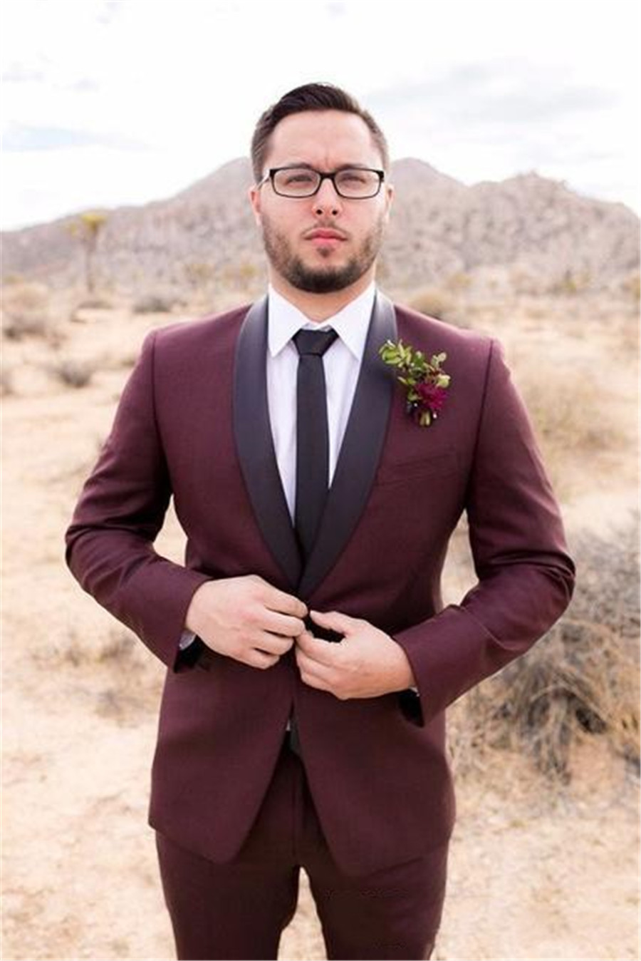 Classy Burgundy With Black Shawl Lapel Wedding Tuxedos Fro Grooms Groomsmen Suit Men Business Office Wear Tailor (Jacket+Pant)