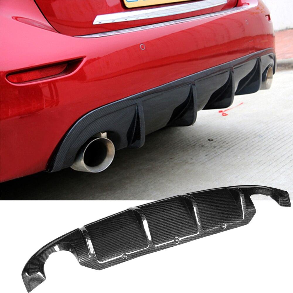 Q50 углеродное волокно добавить на Автомобильный задний бампер диффузор спойлер для Infiniti Q50 Q50S Седан 4 двери стандартный спорт 2013