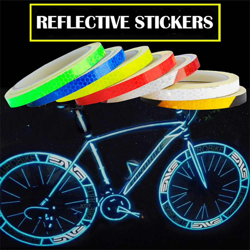 Mountain bike Reflective Stickers Reflective Strips Cycling Fluorescent Tape Luminous Reflectors Bicycle Stickers Decoration