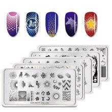 BORN PRETTY ногтевые штампованные пластины шаблон для ногтей Мандала кленовый отпечаток листика дизайн ногтей штамп шаблон изображения