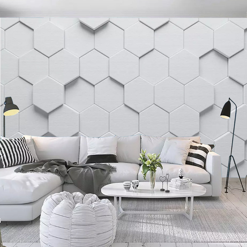 Customizable Modern Minimalist Cool Mural 5D Stereo Hexagon Geometry Graphics Living Room Sofa TV Background Wallpaper