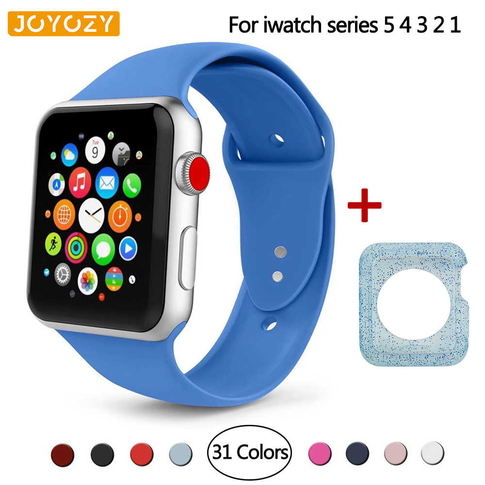 Joyozy Sport Silicone Band for Apple Watch 38mm 42mm 40mm 44mm Soft Strap Bracelet Rubber watchband for iwatch Series 5 4 3 2 1