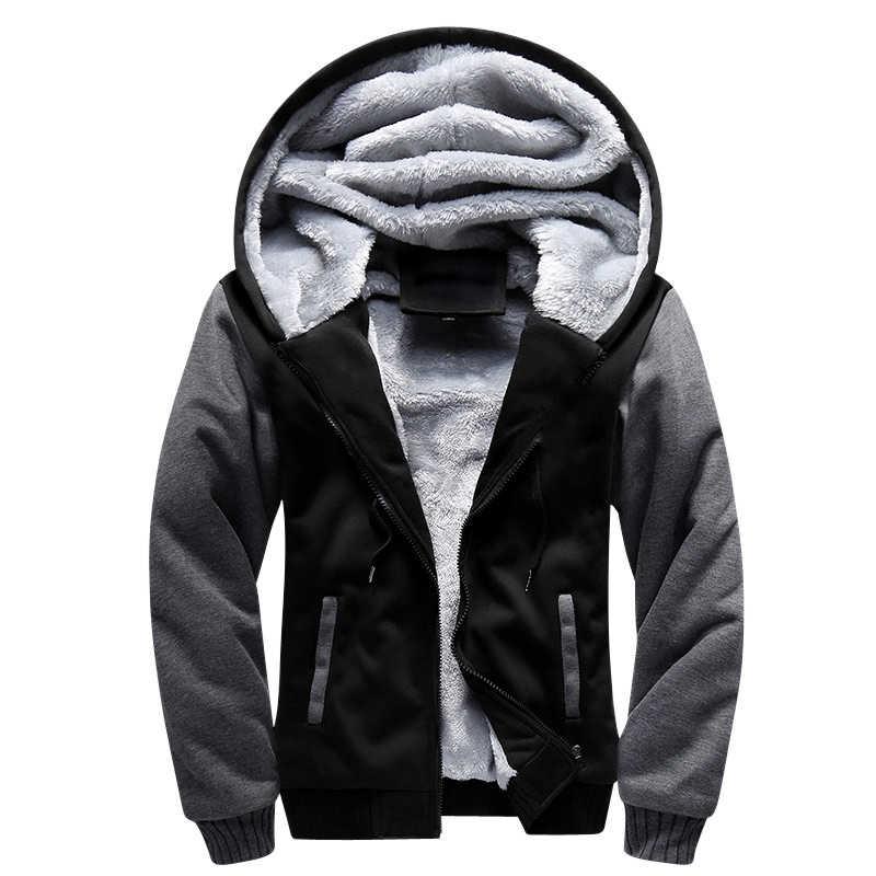 Hoody 남자 솔리드 까마귀 겨울 두꺼운 따뜻한 양털 후드 티 스웨터 지퍼 까마귀 코트 Sportwear Streetwear 지원 DIY 인쇄
