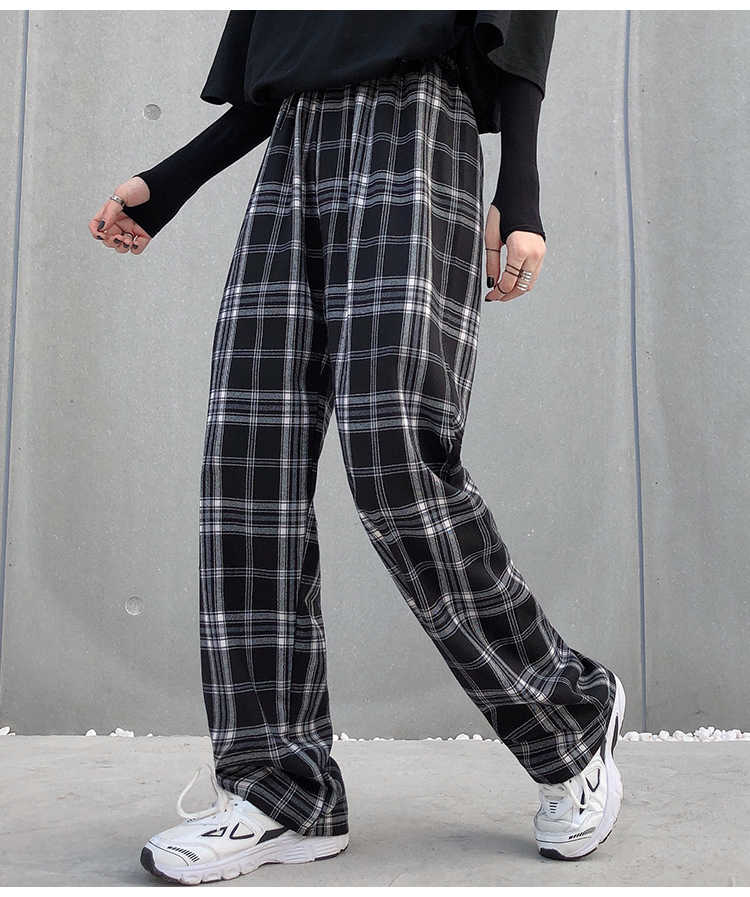 Womens Tartan Print Ankle Cuff Ali Baba Harem Full Length Loose Fit Trousers
