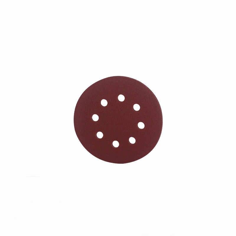 5/1pcs okrągła tarcza papier ścierny polski 5 Cal 125mm z ośmioma otworami arkusze dysku Grit 60-2000 szlifowanie haczyków i pętli 320/80/120/1000 Grit
