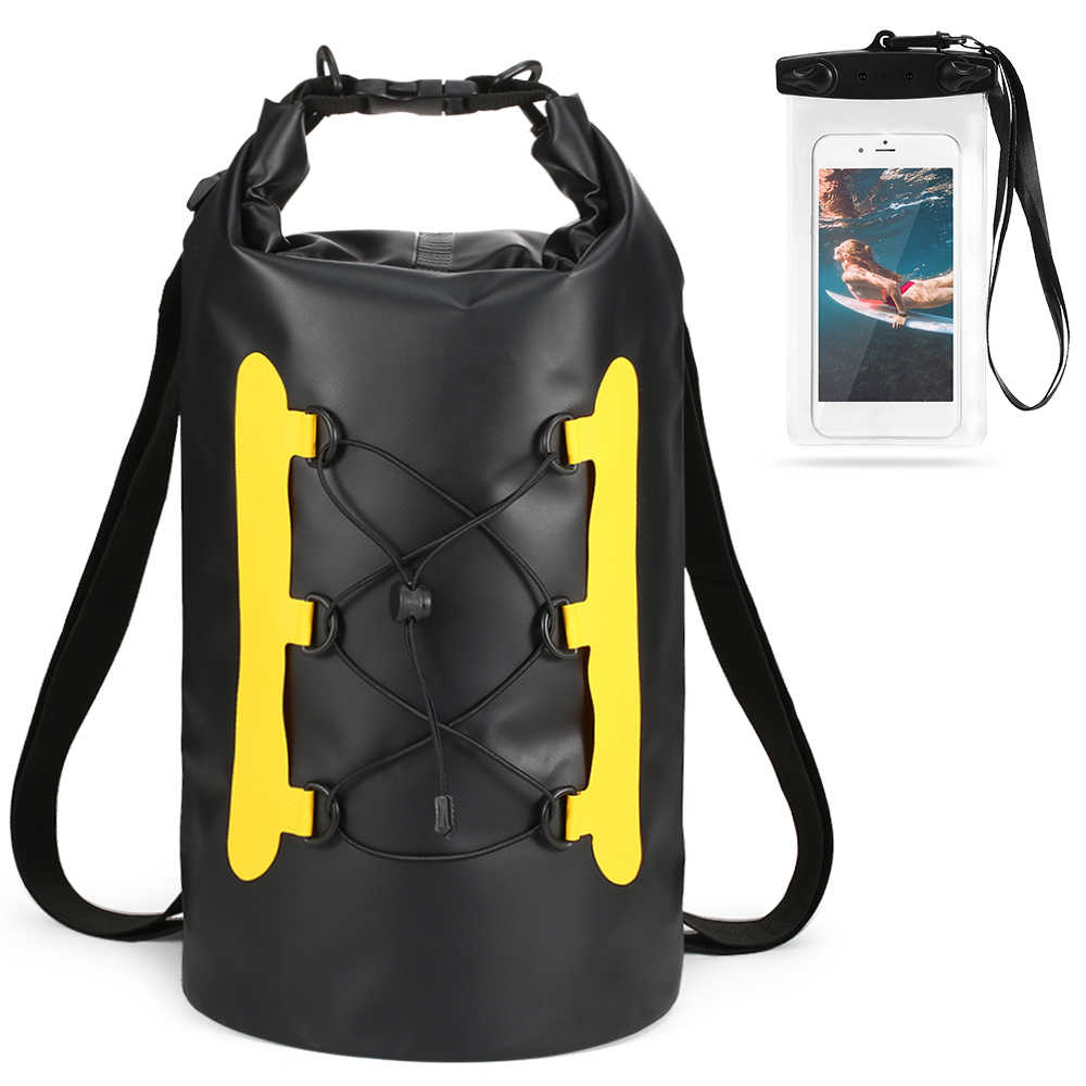 15L 防水ドライ電話ケース水泳バッグロールトップドライ袋カヤックボート釣りサーフィンラフティング川トレッキング