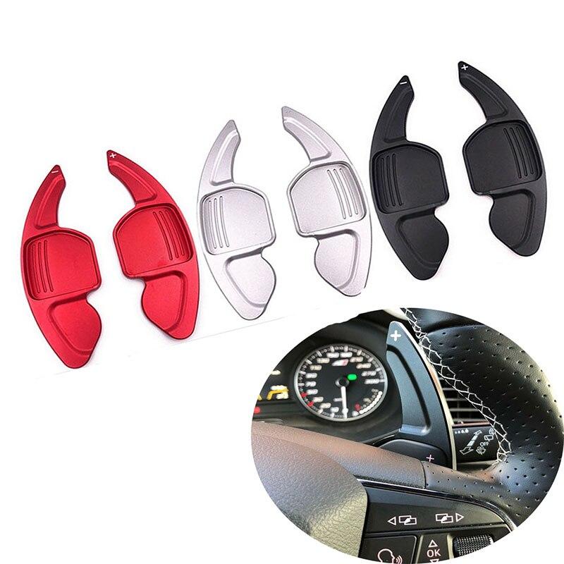 สำหรับ AUDI A3 S3 A4 S4 B8 A5 S5 A6 S6 A8 R8 Q5 Q7 TT DSG พวงมาลัยรถ shifters SHIFT อลูมิเนียม SHIFT Paddles 2 PCS