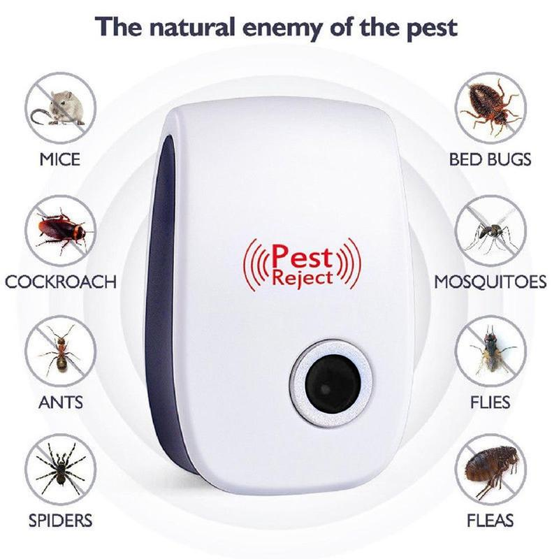 1PC Us Plug Pest Reject Pro Ultrasonic Repeller Bed Bug Mites Spider Defender Roaches Electronic Mosquito Repellent