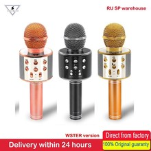 100% WSTER WS858 Bluetooth Original, micrófono de Karaoke inalámbrico, altavoz de música, sonido mágico, micrófono de Karaoke portátil para teléfono inteligente