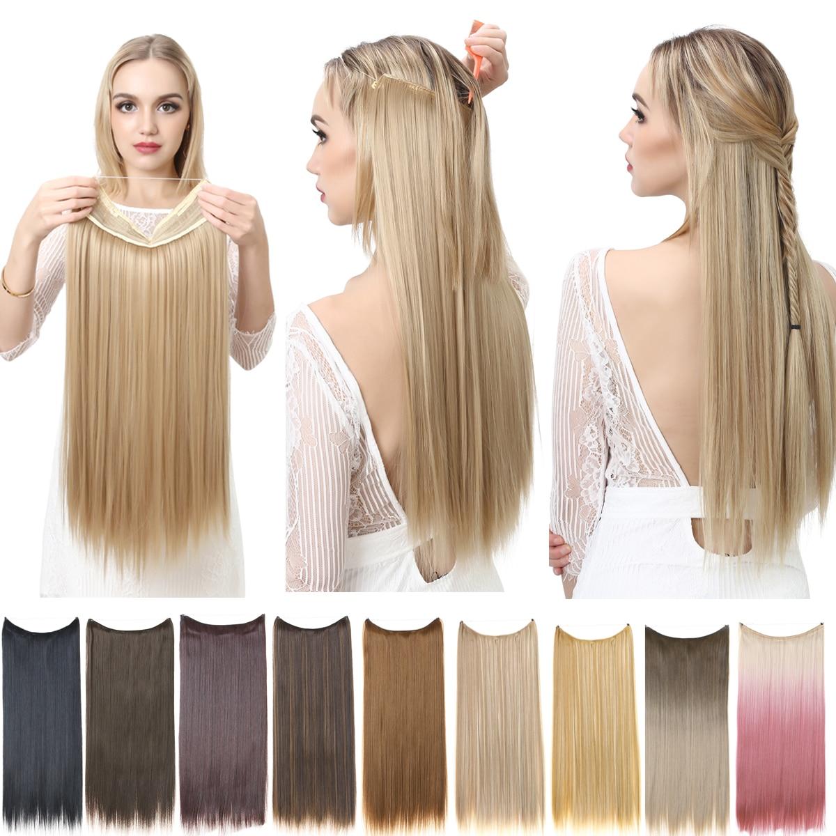 SARLA hiçbir klip Halo saç uzatma Ombre sentetik yapay doğal sahte yanlış uzun kısa düz postiş sarışın kadınlar için