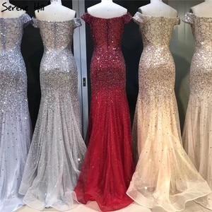 Image 2 - Vestidos de Noche de lujo de Dubái con hombros descubiertos, oro rosa, lentejuelas, Sexy, brillante, estilo sirena Formal, 2020 Serene Hill LA6232