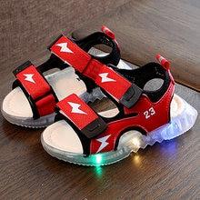 Детские сандалии для девочек летняя пляжная обувь со светодиодной