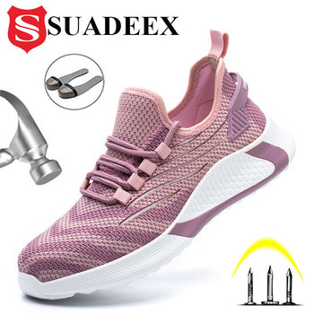 SUADEEX All Season Men Women Safety Work Shoes Anti-Smashing Steel Toe Cap Boots Construction Security Work Sneakers Footwears suadeex work safety shoes breathable mesh construction men steel toe sneakers anti smashing puncture proof security boots 36 48