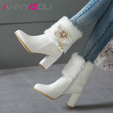 ANNYMOLI Autumn Ankle Boots Women Bow Fur Chunky High Heels Short Pearl Zip Pointed Toe Shoes Female Winter Big Size 3-12