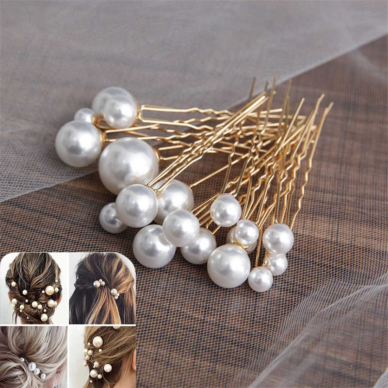 Women U-shaped Pin Metal Barrette Clip Hairpins Simulated Pearl Bridal Tiara Hair Accessories Wedding Hairstyle Design Tools