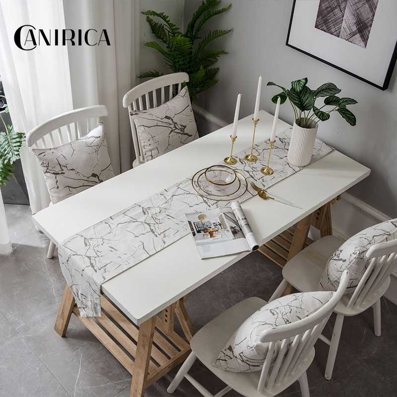 Canirica Table Runner Marble Table Runners Modern Tafelloper Dining Table Decor Camino De Mesa Kitchen Decoration Black White Table Runners Aliexpress