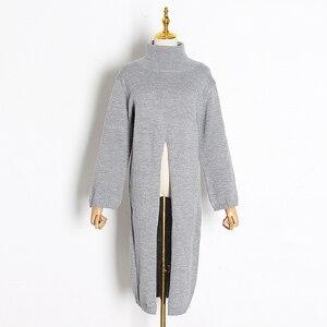 Image 5 - Deuxtwinstyle fendu noir pull femmes à manches longues col roulé hauts tricotés femme vêtements coréen 2020 hiver nouveau