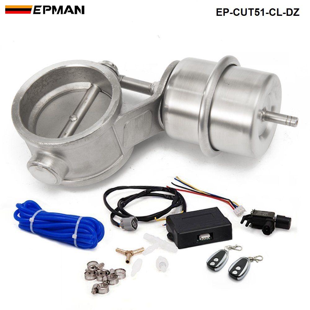 2 valve 51 51mm fechado válvula de escape a vácuo recorte com controle remoto sem fio conjunto EP-CUT51-CL-DZ