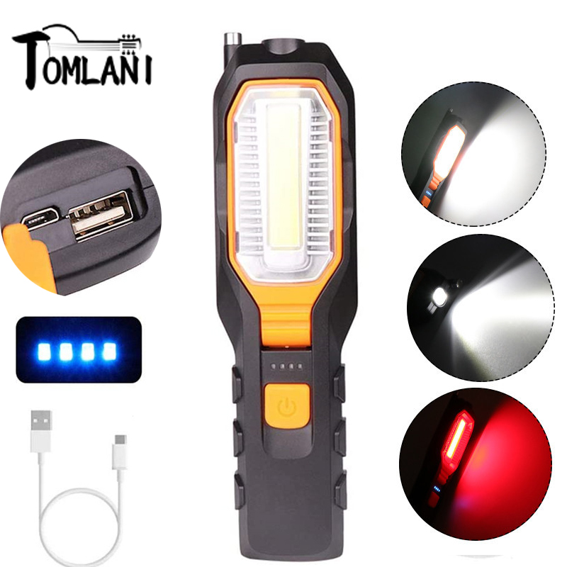 50W LED Rechargeable Work Light COB Inspection Light Portable Flashlight Torch Rotatable Magnetic Work Lamp 4 Modes For Reparing