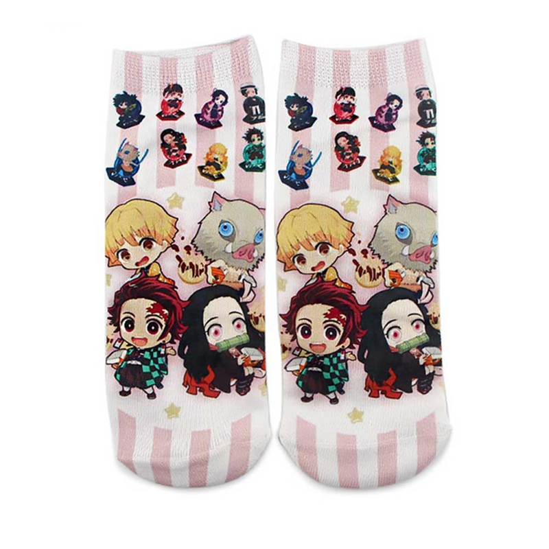 1 Pair Demon Blade Anime Cotton Socks Unisex Creative Anime Shallow Mouth Socks For Women Men Short Socks Dropship Wholesale New