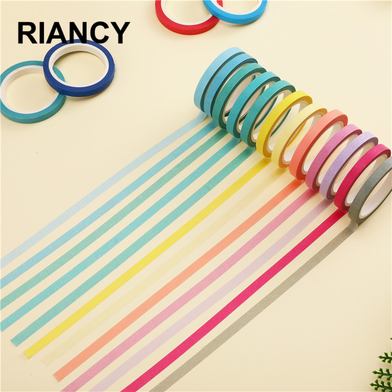 1pcs New Hot Solid Color Slim Paper Washi Tape 5mm*7m Macaron Candy Color Decorative Masking Tapes  Letter School Supplies 02467