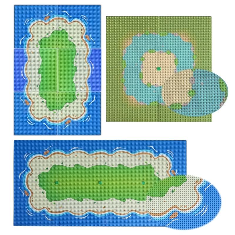 Baseplate City Street Colorful River Sandy Beach Island Base Plate Seaside Building Blocks Compatible Legoinglys Bricks For Kids