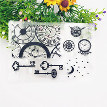 Silicone Clear Stamp Clock Key DIY Scrapbooking Embossing Photo Album Decorative Paper Card Craft Christmas Fun Decoration