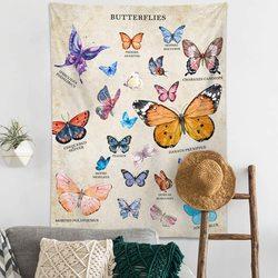 Гобелен с изображением бабочек на стене-Винтаж бежевый гобелен настенный Одеяло со словом Vsco номер Декор для Спальня, Гостиная в общежитии