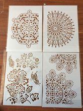 4шт / комплект А4 цветок солнца бабочки трафареты для рисования, раскраски альбом ScrapBook тиснение декоративные шаблон
