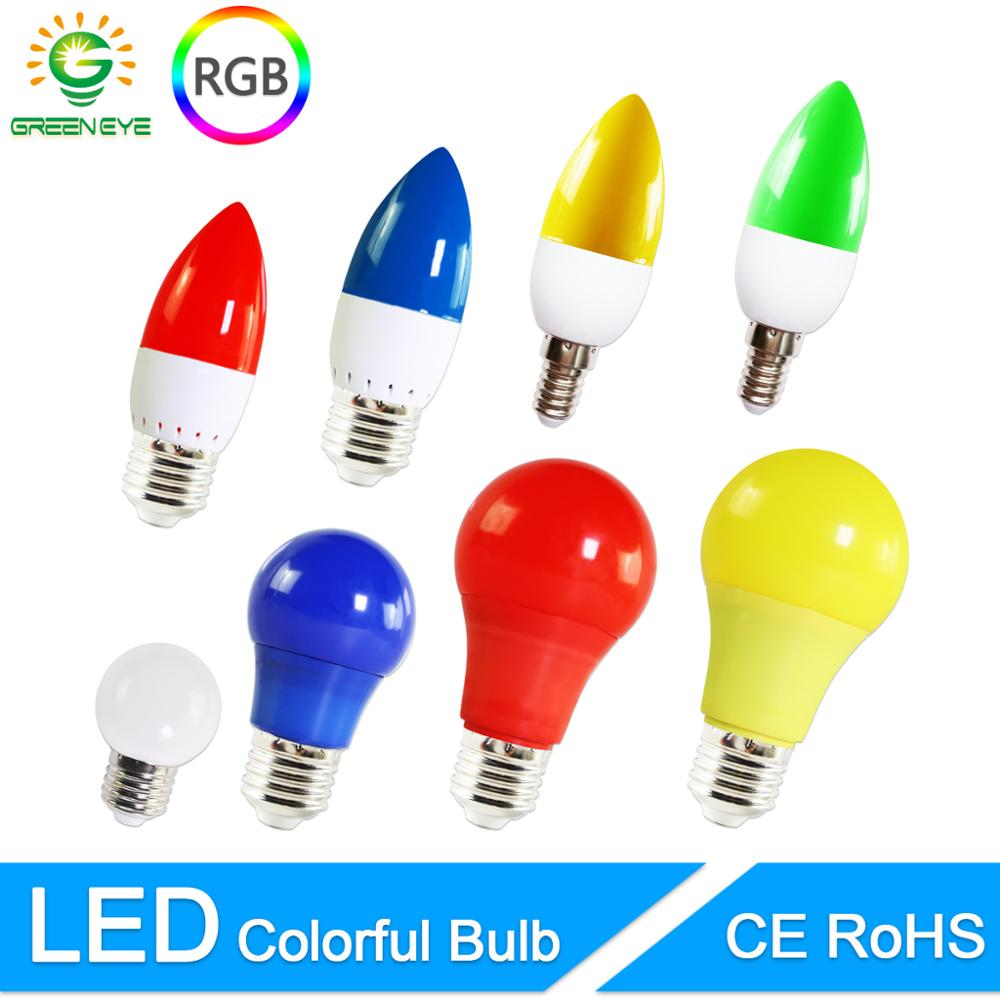 LED Lamp E27 E14 3W 5W 7W  RGB Led Bulb A60 A50 G45 C35 Led Candle Light Colorful SMD 2835 AC 220V 240V Flashlight Globe Bulb