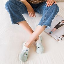 Shallow mouth invisible socks cat cartoon female boat socks Korean fashion cute print Harajuku Fashion Ladies Sock Calcetines#BB(China)