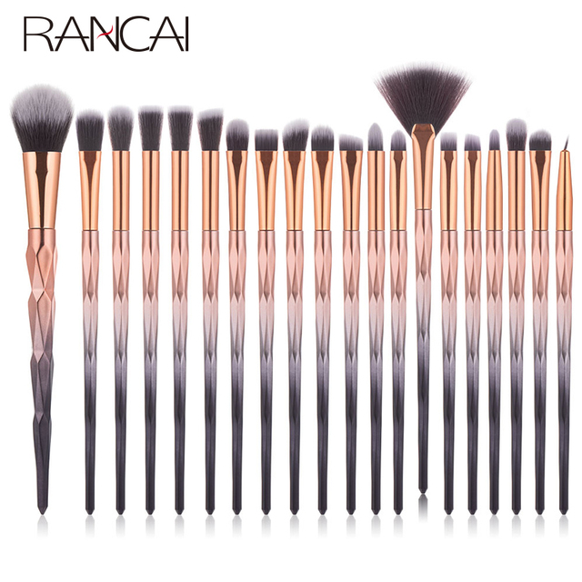RANCAI 20pcs Makeup Brushes Set Foundation Powder Blush Eyeshadow Sponge Wool Fiber Hair Small Fan Brush Cosmetic Brushes Tools 2