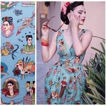 40-женское винтажное 50s Ti-Amo f-ride k-ahlo платье на бретелях в стиле ретро голубого цвета, большие размеры, vestidos, рокабилли, платья jurken
