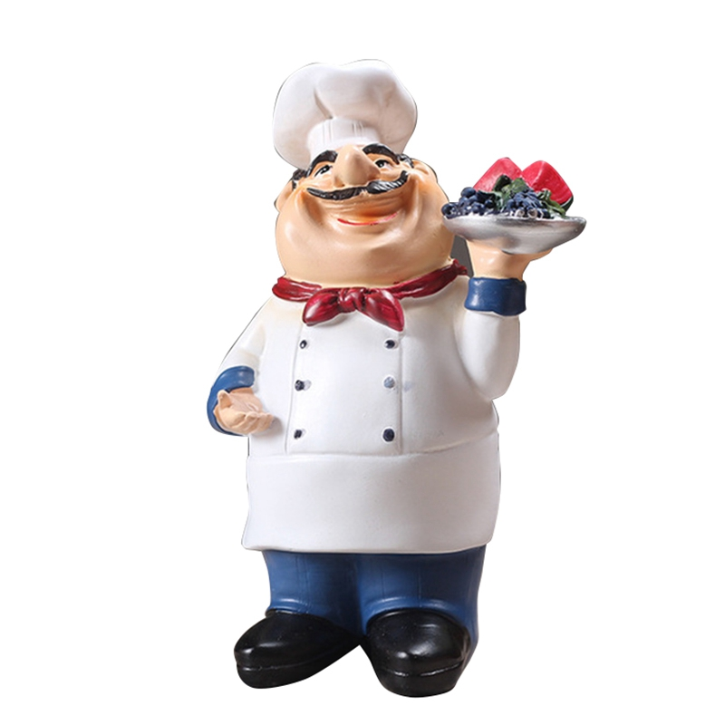 Retro Chef Model Ornaments Resin Crafts Mini Chef Figurines Home Kitchen Restaurant Bar Coffee Decor   - title=
