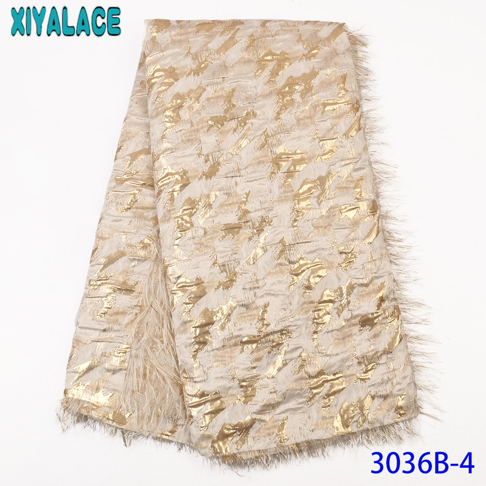 African Fabric Lace French Nigeria Hot Sale Brocade Lace Fabric With Feather High Quality Tulle Lace Fabric For Dresses KS3036B