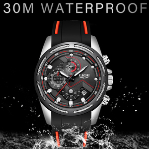 Image 4 - Relogio masculino 2019 lige novo relógio do esporte dos homens relógio de quartzo marca original dos relógios de aço inoxidável dial relógio à prova dwaterproof água