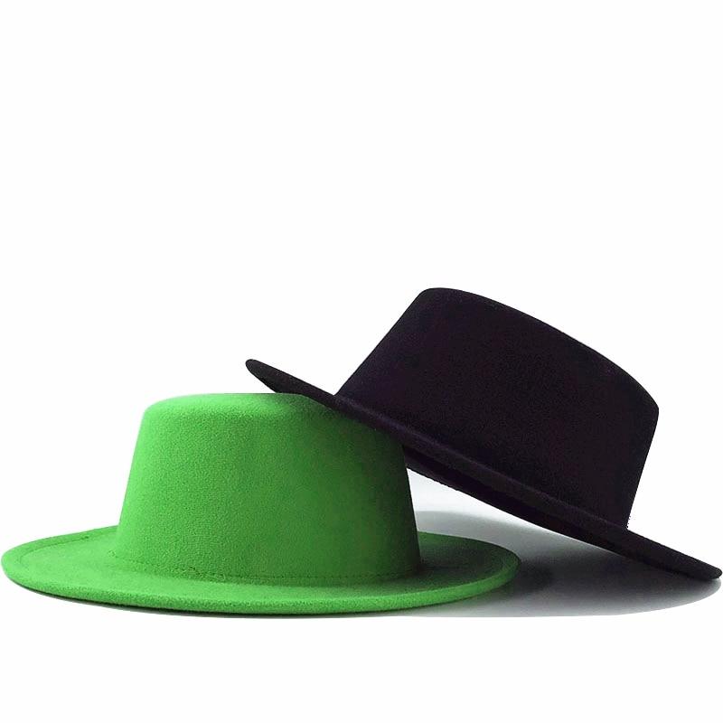Sombrero de lana de imitación para hombre y mujer, sombrero femenino de estilo europeo y americano, con lazo redondo, para Otoño e Invierno