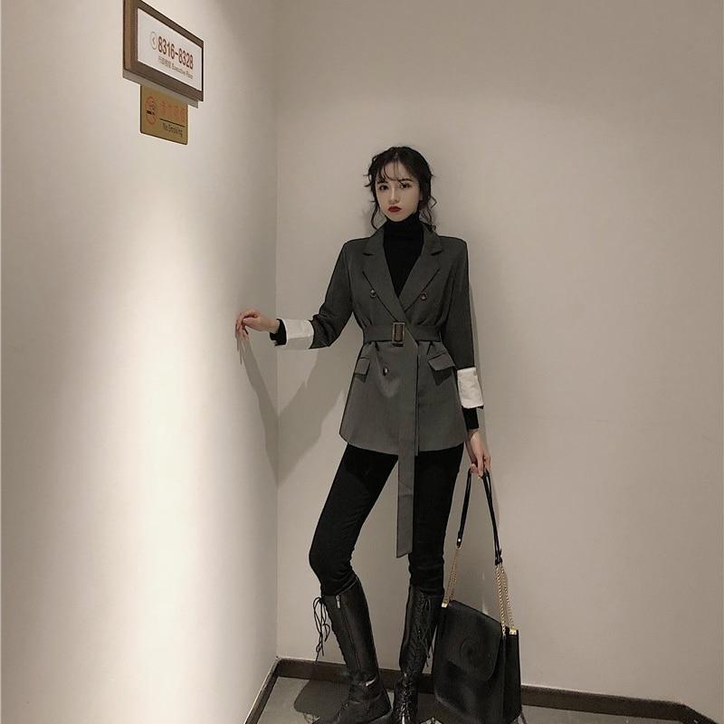 Vintage Loose Ladies Blazer Solid Gray Simple Casual Suit Jacket Blazer De Mujer Stylish Korean High Street Women Blazer MM60NXZ