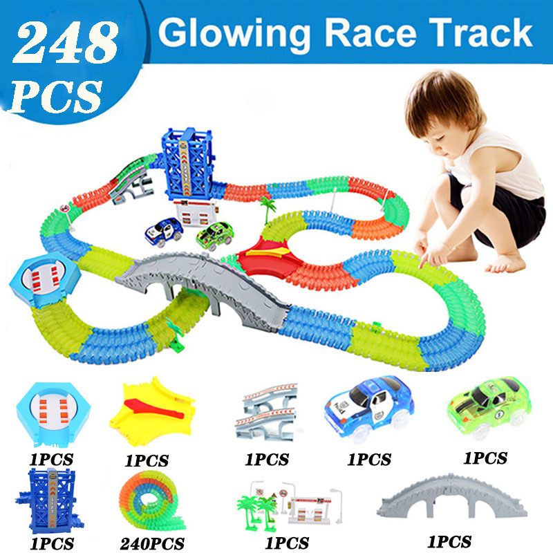 240pcs Track Collection Curved Track Roller Coaster Toy Magic Glowing Racing Toy Car Flash Lifts Children's Educational Toys