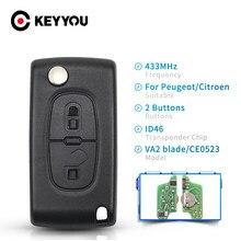 Брелок для Peugeot 307 3008 308 408 433 МГц ID46 7941 CE0536 CE0523, 2 кнопки VA2/HU83