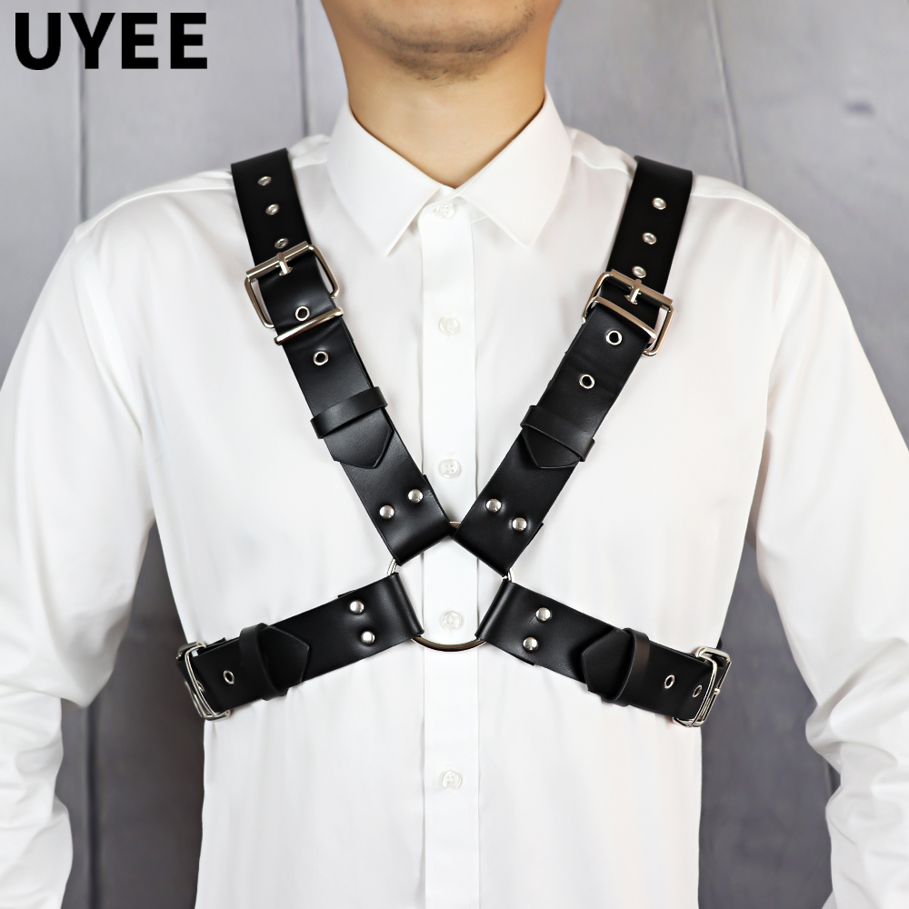 UYEE Men Harness Belts Body BDSM Bondage Gay Chest Body Cage Harness Strap Fetish Exotic Tops Rave Costume for Adults Gay