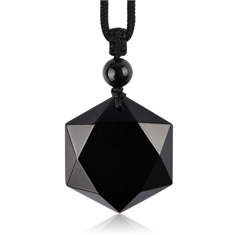 Natural Black Obsidian Beads Necklace Hand Grinding Safety Jade Pendant Fashion Jewelry For Man Women Auspicious Amulet Gifts