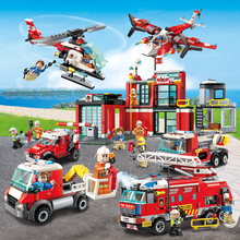цена на NEW City Police Firefighter Rescue Fire Station Truck Aircraft Ladder Car Building Blocks Model DIY Legoes Brick Sets Kid Toy