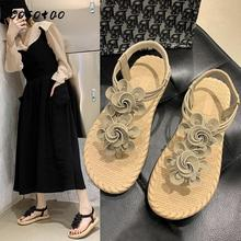 цены Spring And Summer 2020 New Massage Bottom Sweet Flowers Beach Sandals Female Elastic Band Suede Non-slip Clip Toe Female Shoes