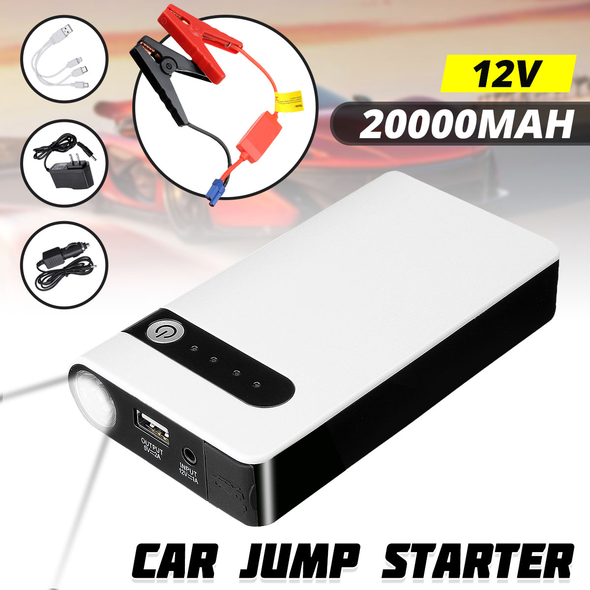 20000MAh 12VแบบพกพารถJump Starterแบตเตอรี่ฉุกเฉินBooster Powerbankกันน้ำLEDไฟฉาย 3-In-1 พอร์ตUSB